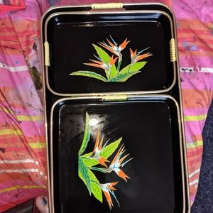 3 piece vintage birds of paradise platter set